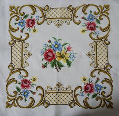 """New Hand Embroidered Floral Pillow Case by ScandicDiscovery """"Items similar to Decoration cushion case, Cushion Cover, Floral Pillow Case, Vintage Purple Em Cross Stitch Pillow, Cross Stitch Borders, Cross Stitch Rose, Cross Stitch Flowers, Cross Stitch Designs, Cross Stitch Embroidery, Cross Stitch Patterns, Floral Cushions, Embroidered Cushions"""