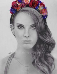 Lana Del Rey pencil drawing by Rosalie Krijl