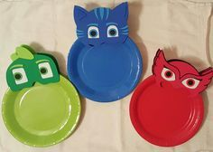 PJ Masks Plates Reserved by LilShopofJoy on Etsy 1st Birthday Party Themes, Fourth Birthday, Birthday Table, Superhero Birthday Party, Decoracion Pj Mask, Thomas Birthday, Barbie Party, Mask Party, 1st Birthdays