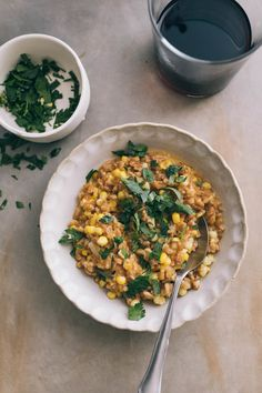 Baked Sweet Corn Farro Risotto with Cheddar Cheese