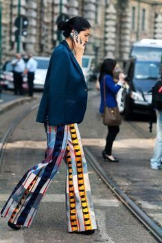 Patterned wide leg pants, maximal style, navy blazer, street style, classically chic style