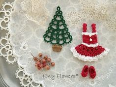 ちっちゃなモミの木♪ ブログでクリスマスパーティ   Tiny Flowers* にゃんことてしごと   ~猫とタティングレース~