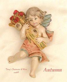 "FONTANINI DEPOSE ITALY 4.5"" FOUR SEASONS AUTUMN NATIVITY HANGING CHERUB ANGEL #Fontanini  1990"