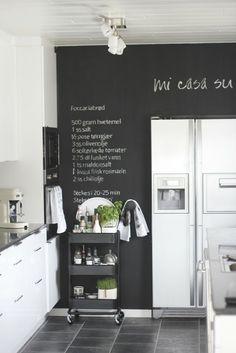 chalkboard wall in black & white kitchen   Kitchen
