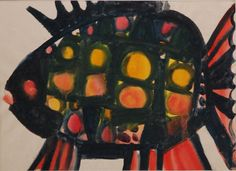 Lubomír Blecha, 1953-54, painting study of fish as proposal for glass design object, gouache on paper, M: 18,0 x 23,0 cm, student work on UMPRUM (Academie of applied Arts) Prague, Czechoslovakia
