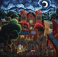 Kim Wiggins, Fiestas De Santa Fe, oil, 48 x 48.