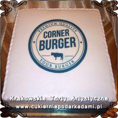034. Śmietankowy tort dla firmy Corner Buger. Cream cake for Corner Burger.