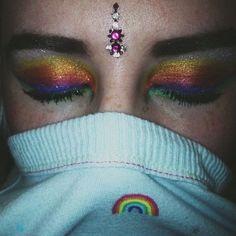 Rainbow face.