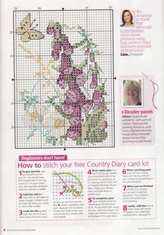 natty's cross stitch corner: Foxglove Card