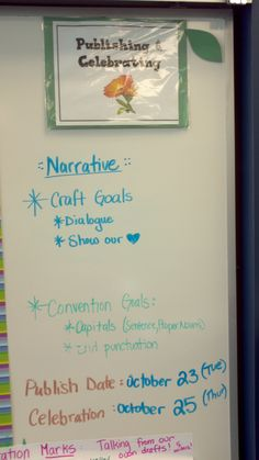 Narrative Writing Backwards Planning: Consider your craft and convention goals at the beginning of your unit and plan accordingly!