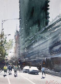 Joseph Zbukvic (1952~ ) - Watercolour City-scape Painter명확한 선과 색채로 사물을 정확히 표현하... Watercolor City, Watercolor Artists, Watercolor Landscape, Watercolor Paintings, Watercolours, Urban Landscape, Landscape Art, Landscape Paintings, Joseph Zbukvic
