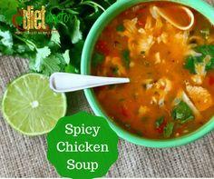 Spicy Chicken Soup 2 cups chicken broth (or water) 1 small onion 1 clove minced garlic 1 tsp cumin 2 tsp chili powder 1 Roma...