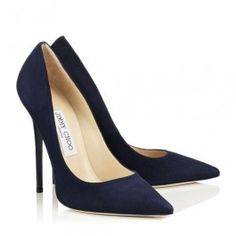 8615350cfa6 Jimmy Choo Anouk 120mm Navy Suede Pointy Toe Pumps All match women shoes  The pointy toe
