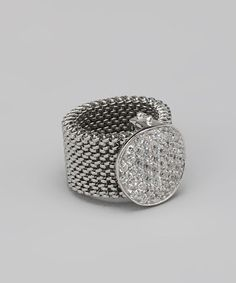 Take a look at this Sterling Silver Mesh Crystal Ring by BJG Services on #zulily today!