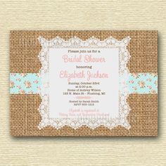 Rustic Burlap and Lace Shabby Chic Bridal Shower Invite - Cottage Roses - PRINTABLE INVITATION DESIGN on Etsy, $15.70