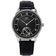 IWC Vintage Collection Portuguese Hand-wound Mens Watch Stainless steel case with a black leather bracelet Black dial with luminous hands and alternating stick and Arabic numeral hour markers Case diameter: Watch News, Black Leather Bracelet, Iwc, Vintage Watches, Stainless Steel Case, Portuguese, Markers, Watches For Men, Hands