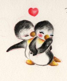 Dibujos de pinguinos enamorados - Imagui