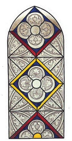Stained glass window design from Stockbury Church in Kent, England, produced in the 13th century.