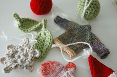 christmas tree hand knit ornaments