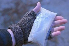 Battling the cold weather? Add to your arsenal by making a batch of pocket-sized hand warmers. All you need is a little sidewalk salt, water and two plastic baggies. Materials Needed: measuring cups 1 cup calcium chloride ice melt ½ cup water sandwich-size ziploc bag snack-size ziploc bag By Mick Telkamp , DIYNetwork.com More From DIYNetwork.com : 35 Amazing Outdoor Fireplaces + Fire Pits 11 Ways to Upcycle Old Sweaters Our 10 Most-Pinned Mason Jar Ideas
