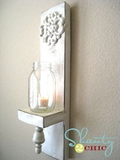 8 Wonderful Useful Tips: Mason Jar Wall Sconces Light Fixtures wall sconces living room hallways.Wall Sconces Bedroom Ikea Hacks wall sconces plug in bronze. Rustic Wall Sconces, Bathroom Wall Sconces, Rustic Walls, Wooden Walls, Shabby Chic Candle Sconces, Diy Wand, Sconces Living Room, Mason Jar Wall Sconce, Shanty 2 Chic