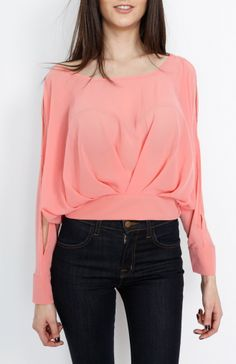Peach Pleated Long Sleeve Top With Open Back - #WholesaleTops, #Casual #DayTops, #Boutique #WholesaleBoutique, #Nasty #Sexy, #Spring #SpringWear