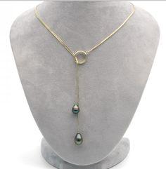Black Tahitian pearl lariat necklace