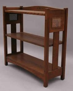 Limbert Magazine Stand - Ebony Inlay - Caned Side Panels - Arts & Crafts - Craftsman