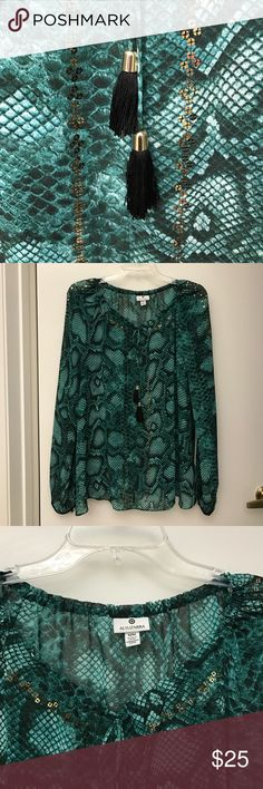 Snake print gorgeous green top By Altuzarra for Target! Great top with gold sequin and black tassel details. Looks very rich! Perfect for day to night look. Rock with some black skinnies and booties 👍🏻 Altuzarra Tops Blouses