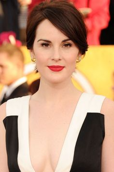 Michelle Dockery With A Classic Updo And  Radiant Color