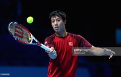 Kei Nishikori of Japan plays a forehand in practice during the Barclays ATP World Tour Finals tennis previews at the O2 Arena on November 8, 2014 in London, England.