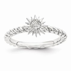 Sterling Silver Stackable Expressions Diamond Star Ring