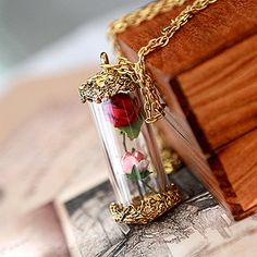 "DARKWHISPER Gothic Vintage Beauty & the Beast ""Rose in a bottle"" Hand Made Pendant Necklace on Etsy, $12.00"