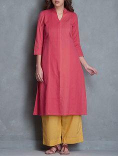 Peach Pink Mandarin Collar Linen Cotton Kurta Apparel Tunics & Kurtas Play by Colors Handmade Mangalgiri