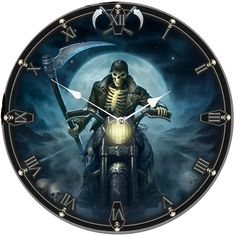 This beautiful clock is designed by Gothic Artist James Ryman and titled Hell Rider. It depicts a the grim reaper riding a motorbike while carrying a scythe. It would make the ideal addition to any Gothic art or skeleton collection. Cool Clocks, The Grim, Grim Reaper, Gothic Art, Harry Styles, Superhero, Artist, Fictional Characters, Ebay