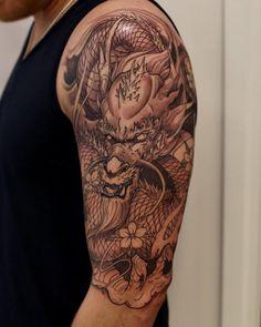 tattoos for men dragon sleeve tattoos, koi dr Celtic Tattoos For Men, Dragon Tattoos For Men, Dragon Sleeve Tattoos, Japanese Dragon Tattoos, Japanese Sleeve Tattoos, Dragon Tattoo Designs, Tattoo Sleeve Designs, Tattoo Designs Men, Tattoos For Guys