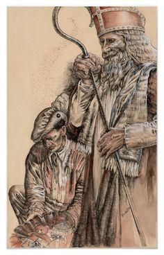 Sinterklaas en Zwarte Piet door Portia St Luke. Afdruk