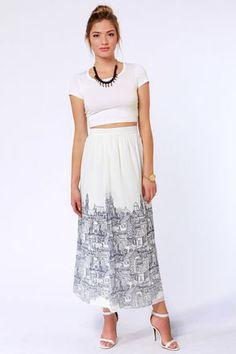 #Lulus                    #Skirt                    #American #Paris #Ivory #City #Print #Maxi #Skirt   American in Paris Ivory City Print Maxi Skirt                                 http://www.seapai.com/product.aspx?PID=1816833