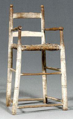 antique ladder-back highchair