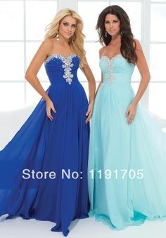 2014 New  handmade modern strapless blue chiffon beading  long  prom dresses  for party,wedding $112.00