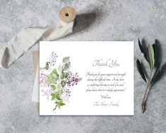 Funeral Thank You Cards | Printable Funeral Thank You Notes | Memorial Cards | Sympathy Thank You Cards | Obituary Template Printed Lilacs