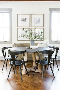 Newest Farmhouse Dining Room Design Ideas - Page 44 of 48 - Aidah Decor Modern Dining, Dining Room Small, Dining Room Walls, Farmhouse Dining Room, Dining Room Chairs, Round Dining Table, Farmhouse Dining Rooms Decor, Dining Chairs, Dining Room Furniture