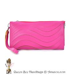 HOTT PINK - A cute and trendy clutch style wallet purse, with a wave laser cut detailing. Great for casual daytime fashion wear. Optional shoulder strap. $13.99 on Amazon.com. #clutches #wallets #purses #lasercut
