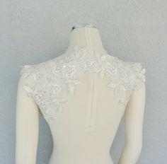 Beautiful Wedding Bridal Ivory Beaded Lace by Chuletindesigns