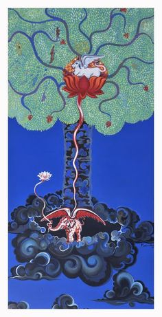 KALPAVRUKSH painting By Sridhar Poluru. By buying this artwork on www.passionartly.com you are doing a good deed, we pledge to donate a percentage to the association : AFAO association française de l'atrésie de l'oesophage