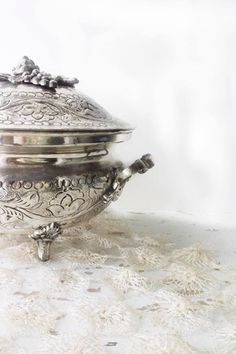 Antique SilverPlate Repousse Lidded Bowl. Victorian Ornate