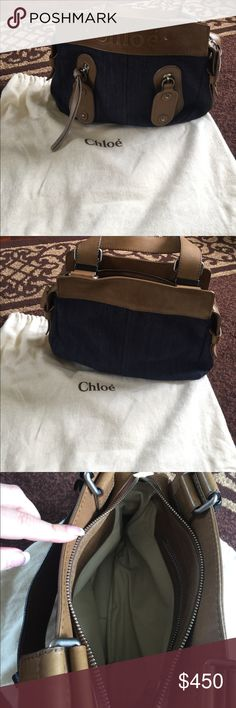 Chloe denim and leather purse. Denim and leather Chloe bag. Just cleaning out my closet. There are a few marks on leather, just normal wear-See pics. Inside big side zipper pouch. Outside has 2 zippers where you could put stuff as well. Great bag! Chloe Bags Shoulder Bags