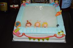 A swimming pool into a cake! #waterbabies #cake #GBBO #babyswimming #baking