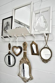 .Hand mirrors hung from bracket for the closet
