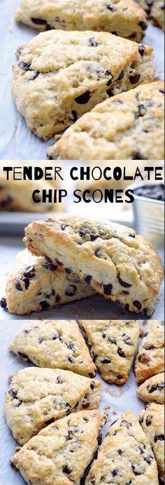 Tender Chocolate Chip Scones: easy, light, fluffy, tender scones packed with chocolate chips. Made with no butter, just heavy cream! | TrufflesandTrends.com